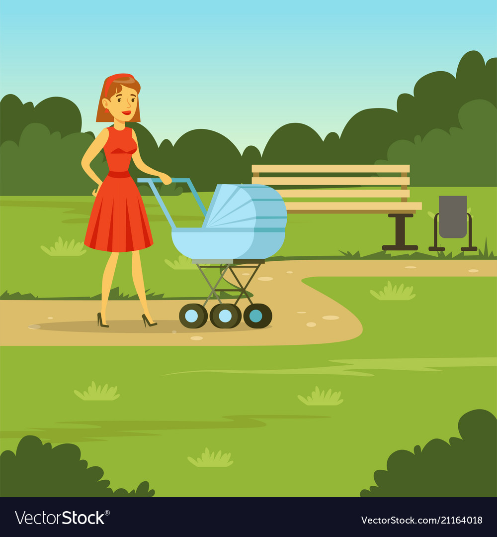 Young mother walking with baby carriage in the