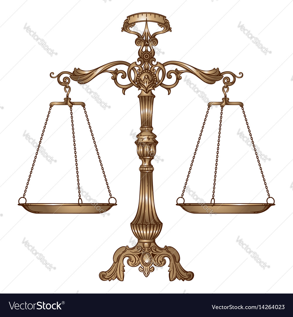 antique ornate balance scales royalty free vector image