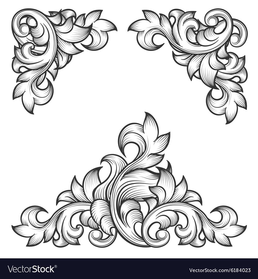 baroque leaf frame swirl decorative design element vector image