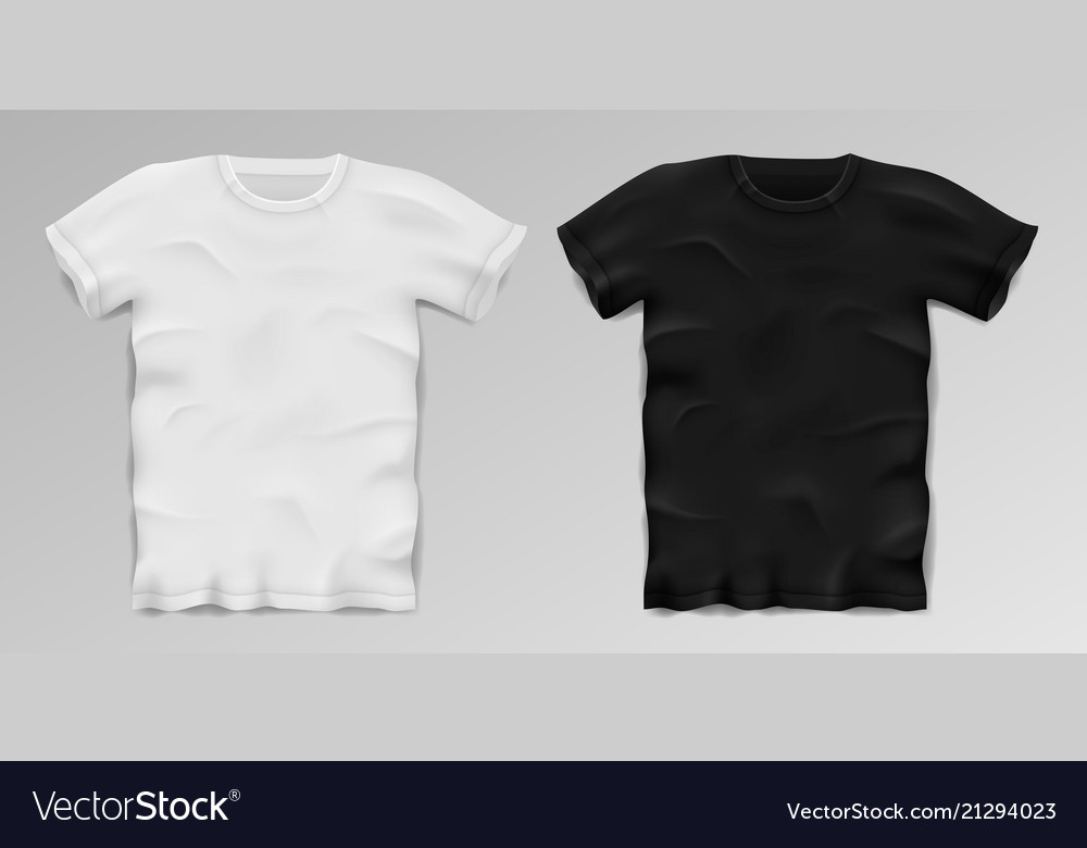 Black and white realistic male t-shirt blank