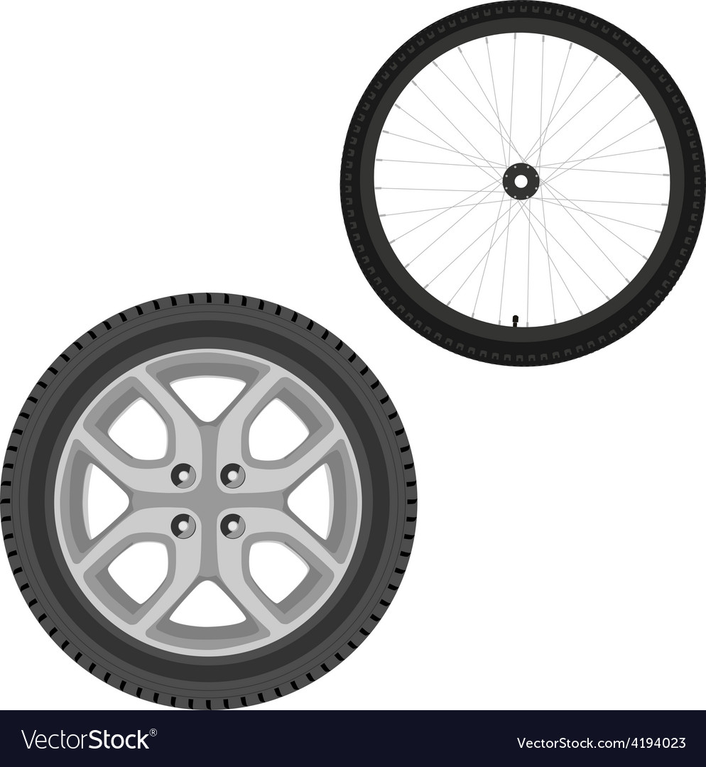 Car and bicycle wheel vector image