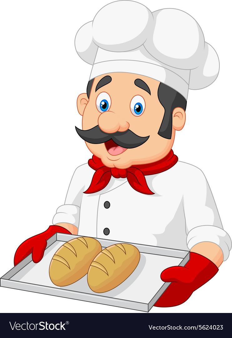 Cartoon Chef Serving bread Royalty Free Vector Image