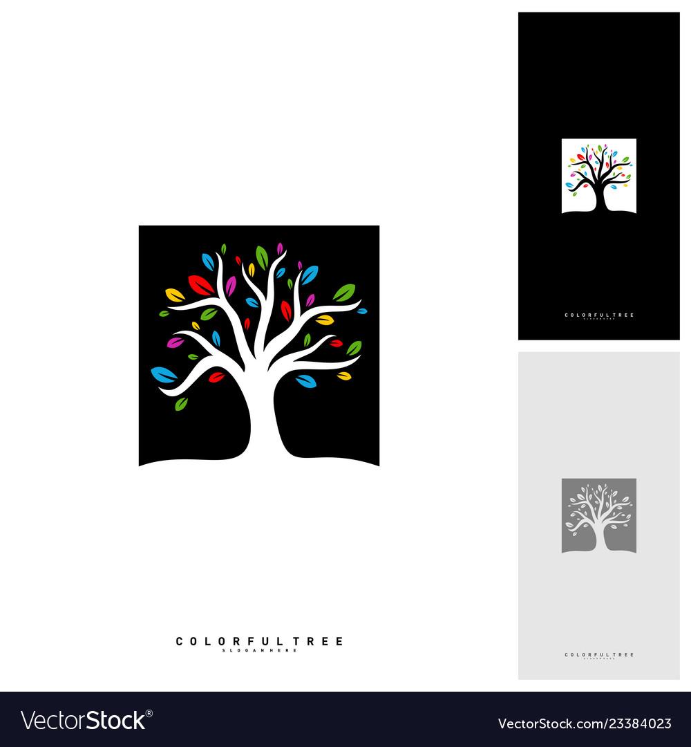Colorful tree logo design template luxury tree
