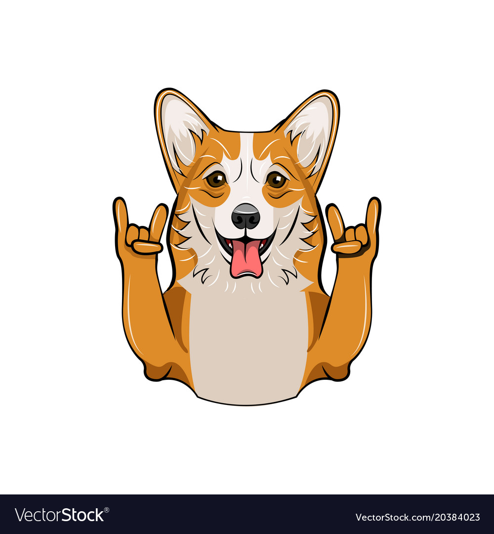 Cute welsh corgi with horns vector image