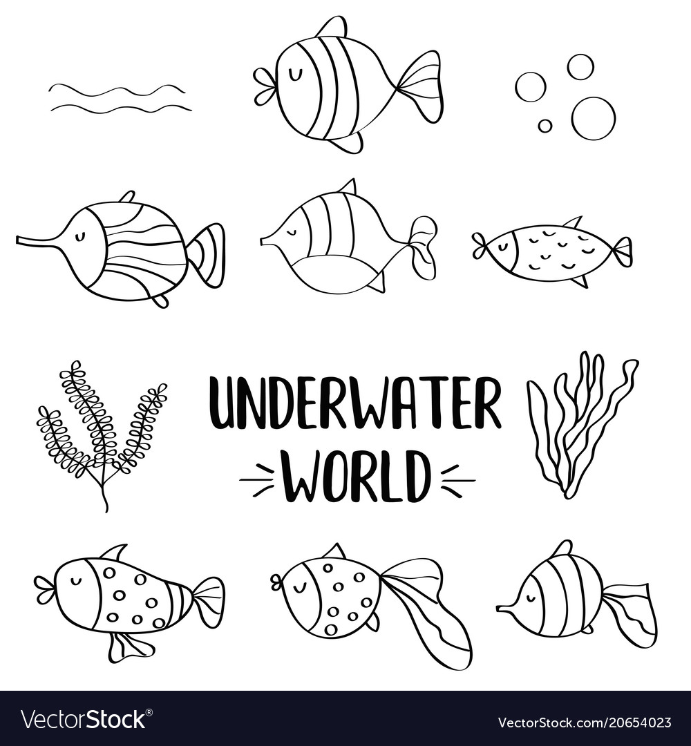 Doodle fishes set for colorig vector image