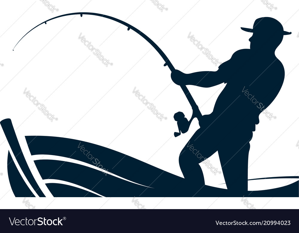 Fisherman with a fishing rod in the boat