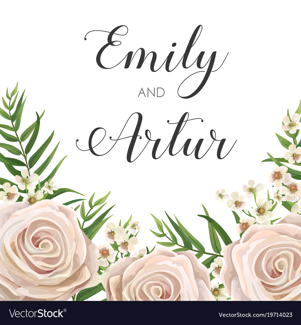 Floral wedding invitation card design with flowers