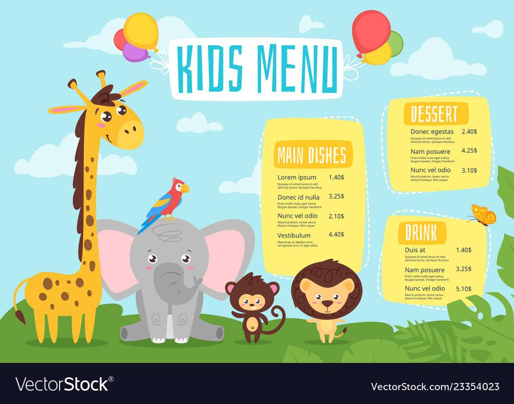 Kids food menu design template