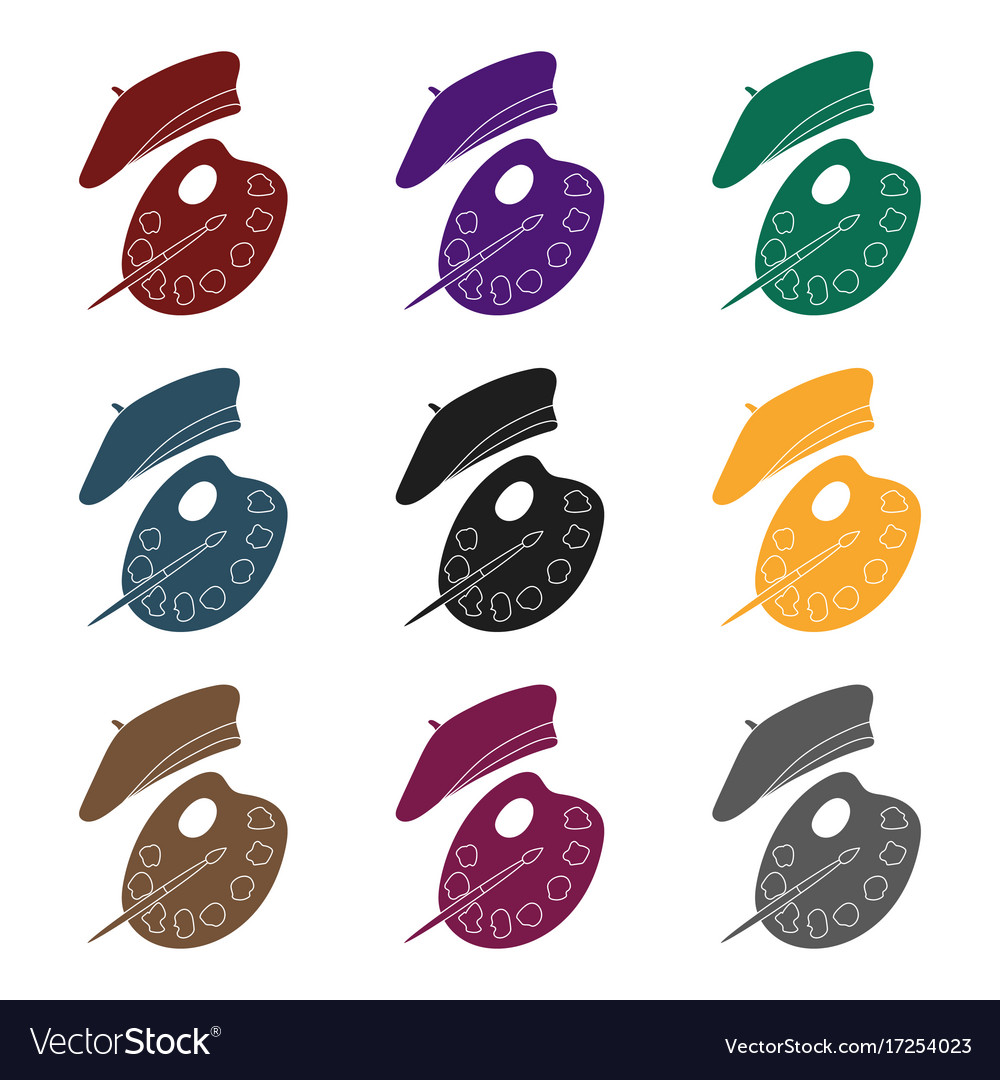 00ad9dd3a47 Painting palette and beret icon in black style Vector Image