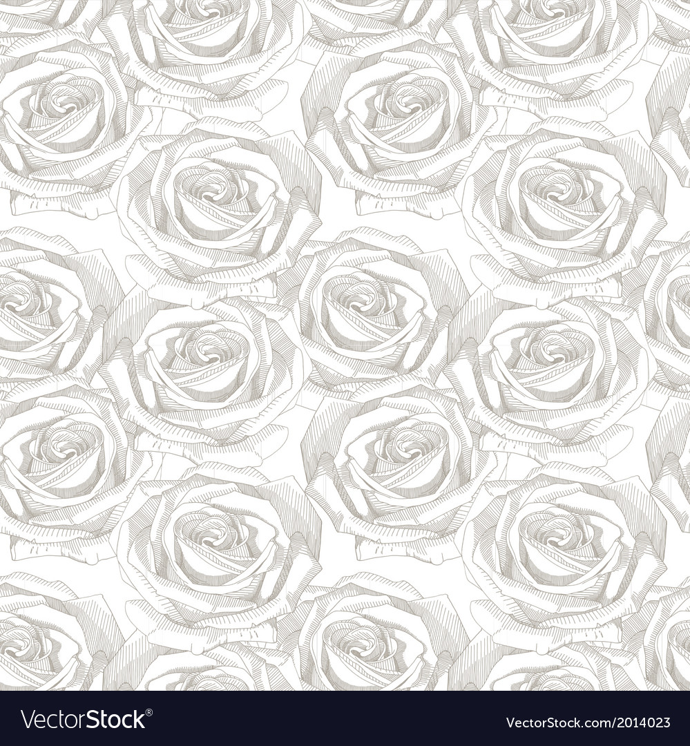 Seamless pattern with hand draw sketch rose