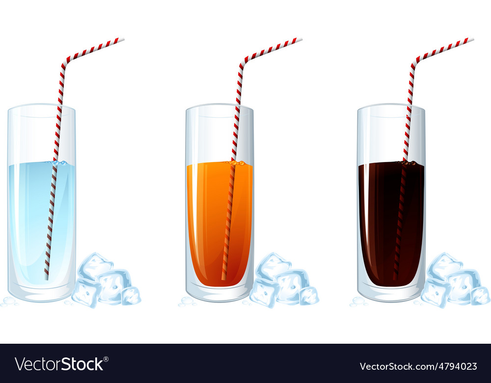 Set of cold drink glasses on white background vector image