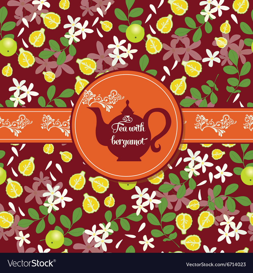 Teapot with citrus pattern