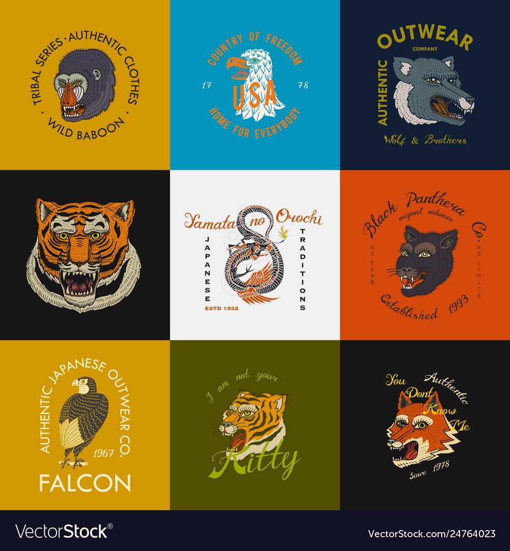 Wild vintage animals logo for t-shirt asian