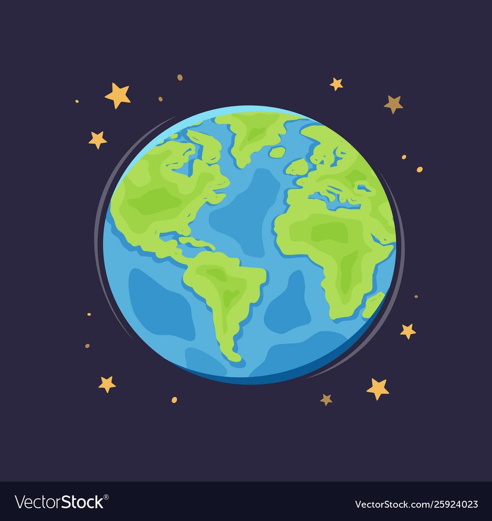 World planet earth in space globe cartoon