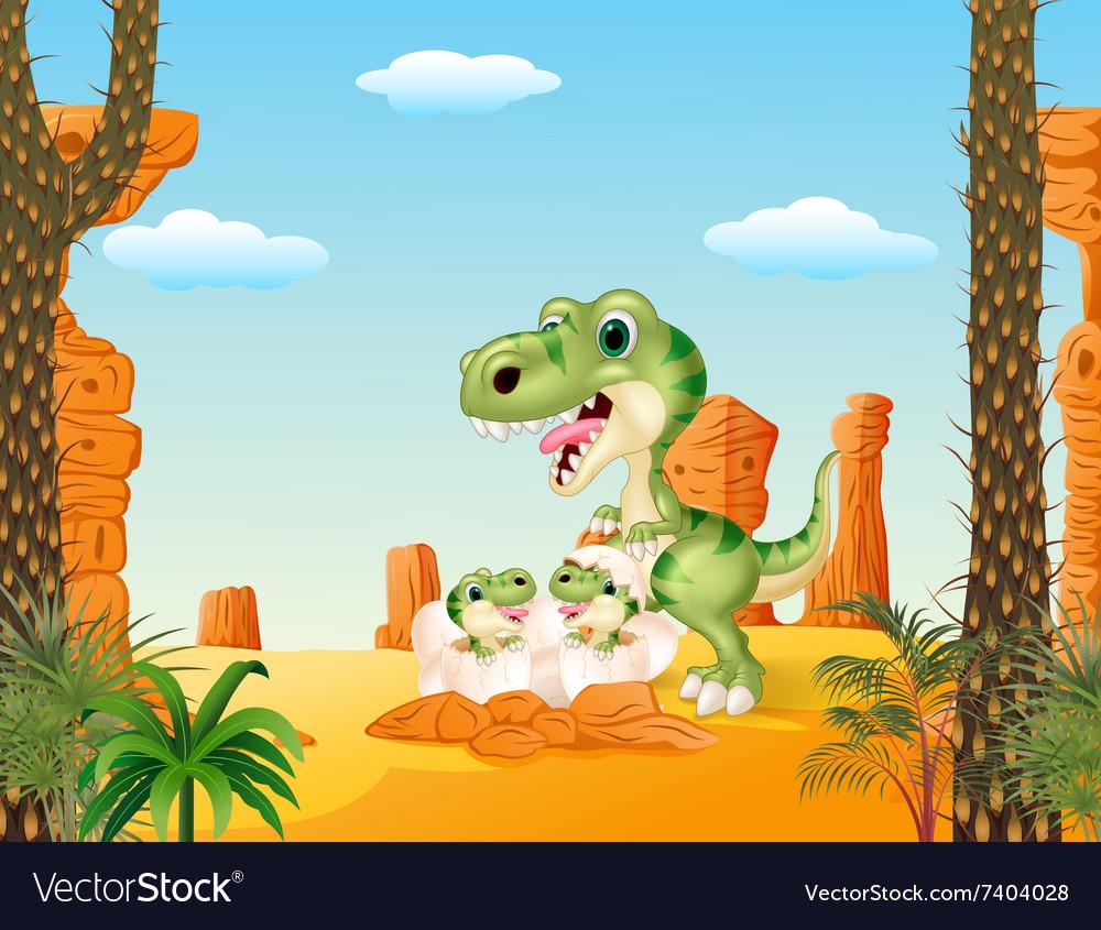 Cartoon mom tyrannosaurus dinosaur and baby vector image