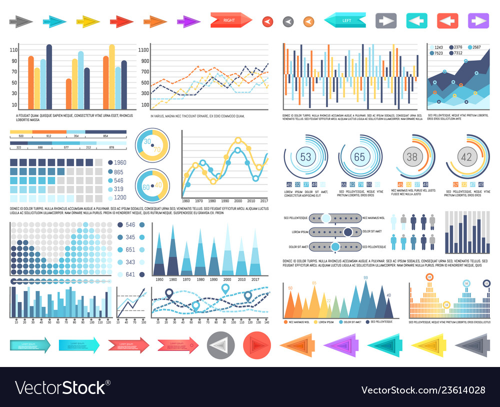 Charts and pie diagrams with numbers information