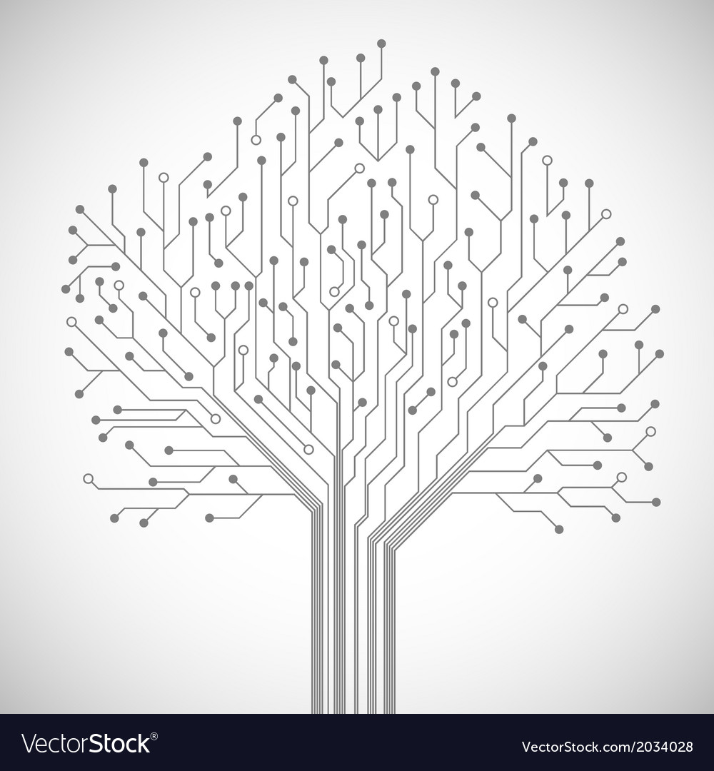 Circuit Board Tree Symbol Poster Royalty Free Vector Image Simple Diagram Symbols Seamless