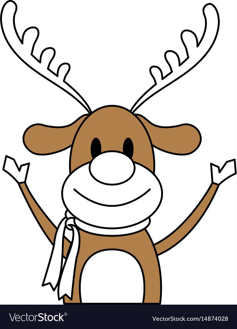 - Color Silhouette Image Cartoon Half Body Reindeer Vector Image