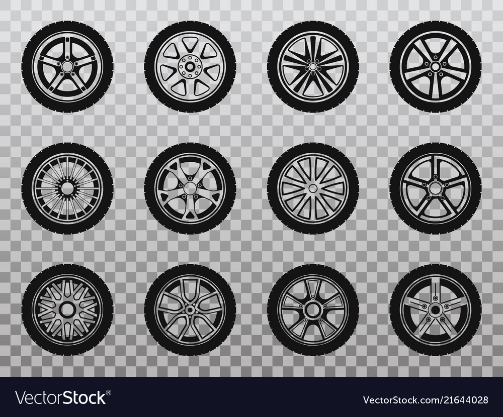 Isolated wheel tyre and tire collection of icons