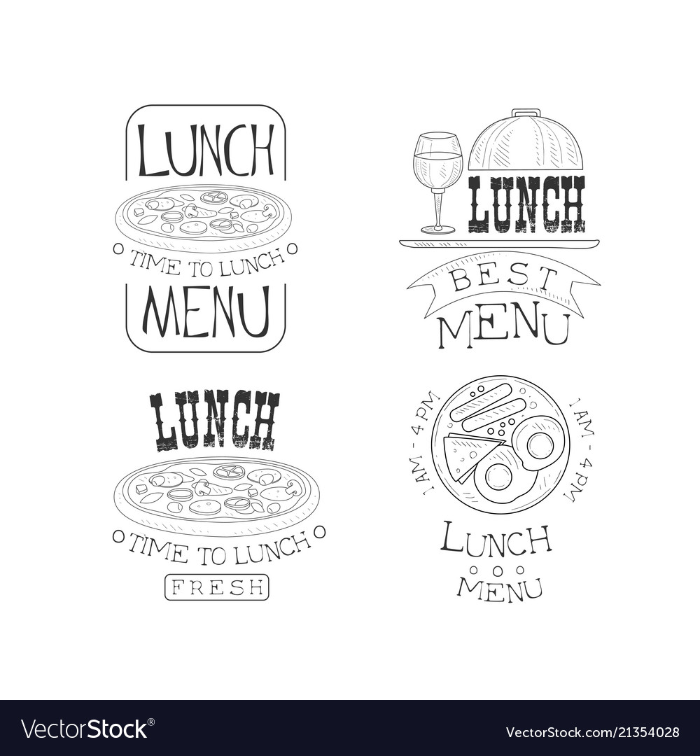 Set of hand drawn lunch logos fresh and