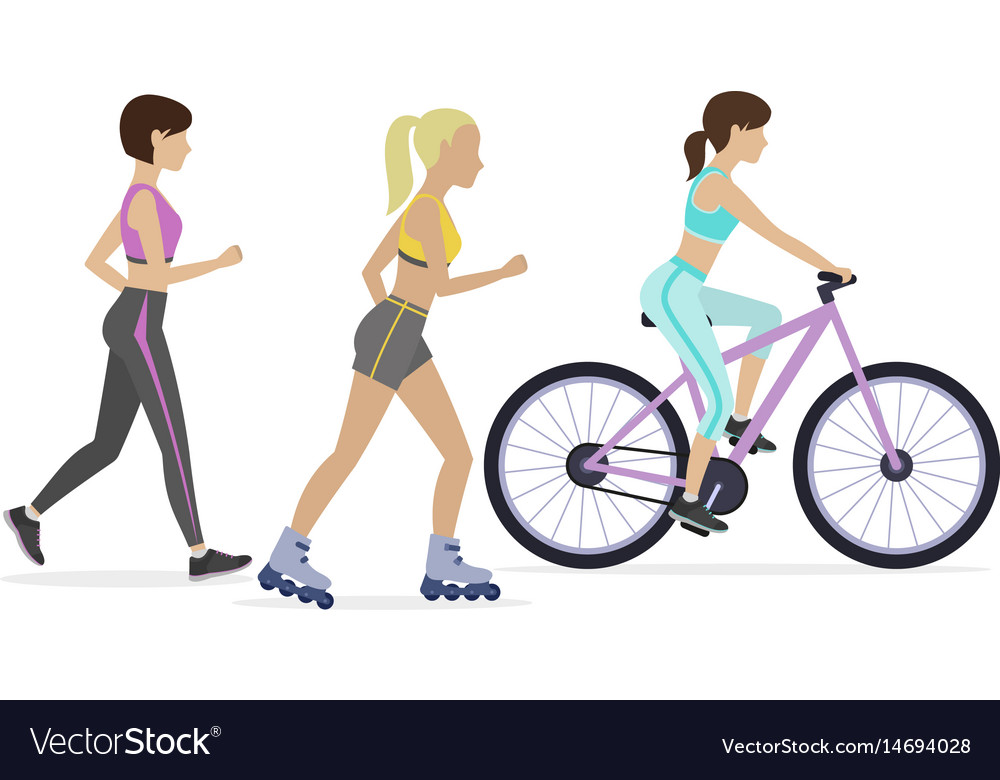 Set of outdoor workouts vector image