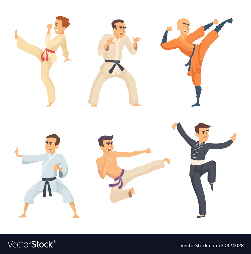 Sport fighters in action poses cartoon characters