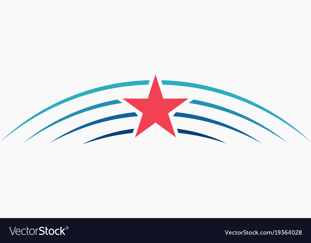 Stars meteor logotemplate icon sign blue rays vector image