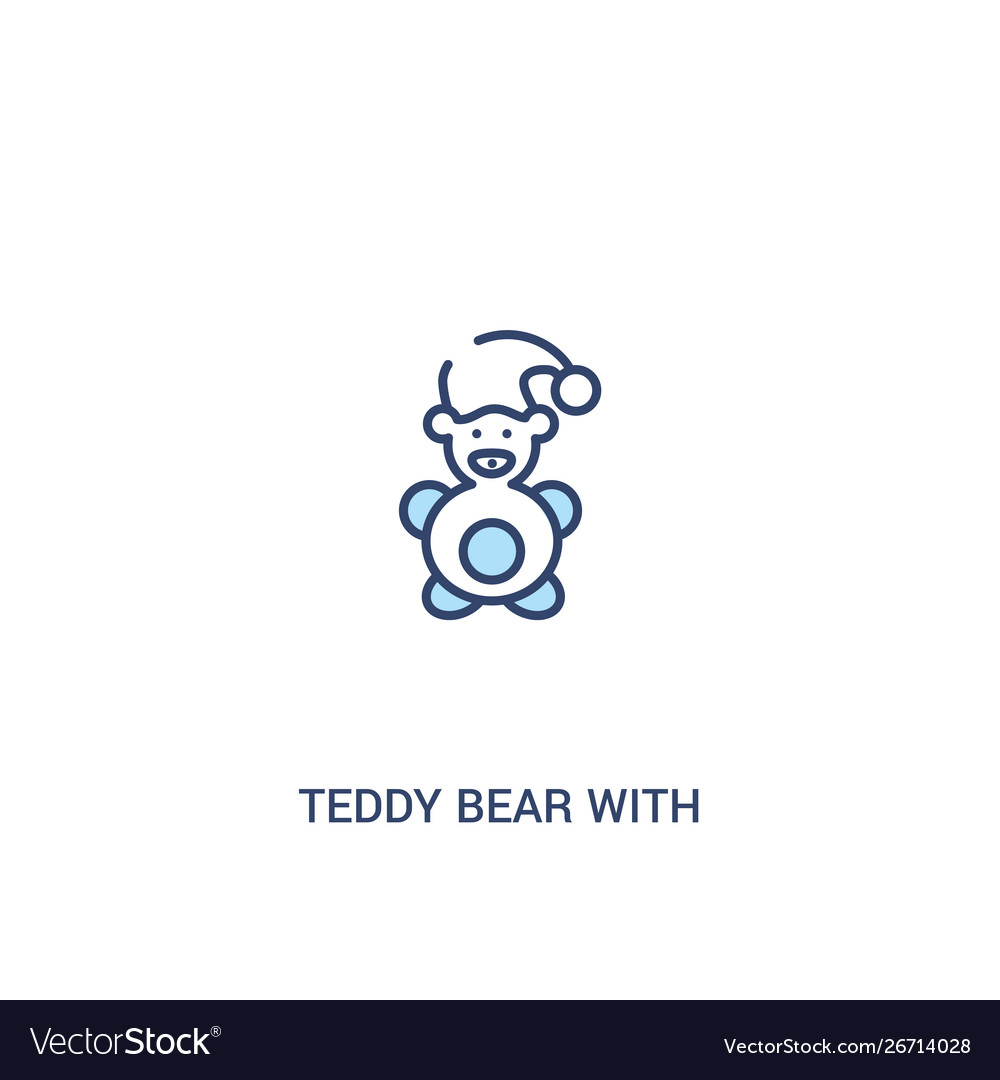 Teddy bear with sleep hat concept 2 colored icon