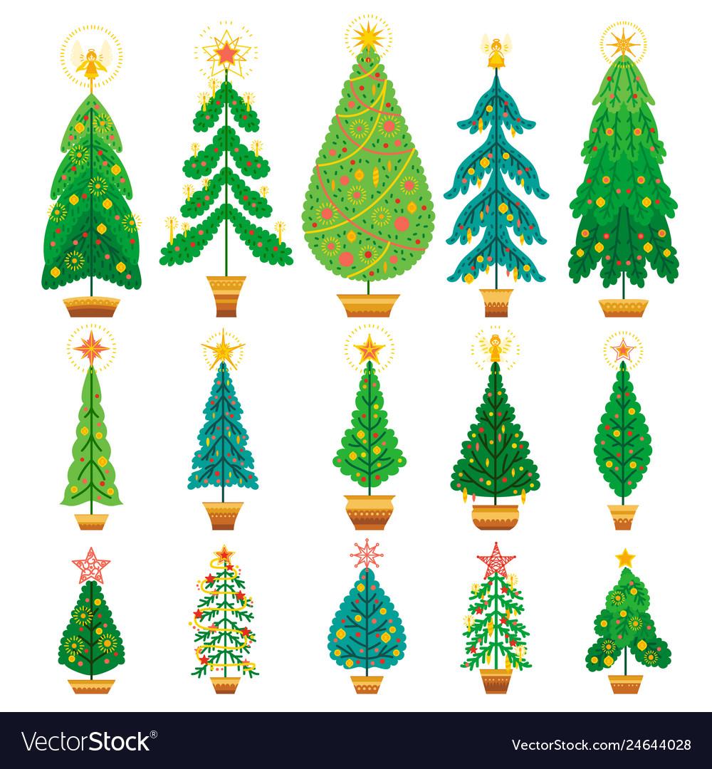 Winter set of cartoon christmas tree