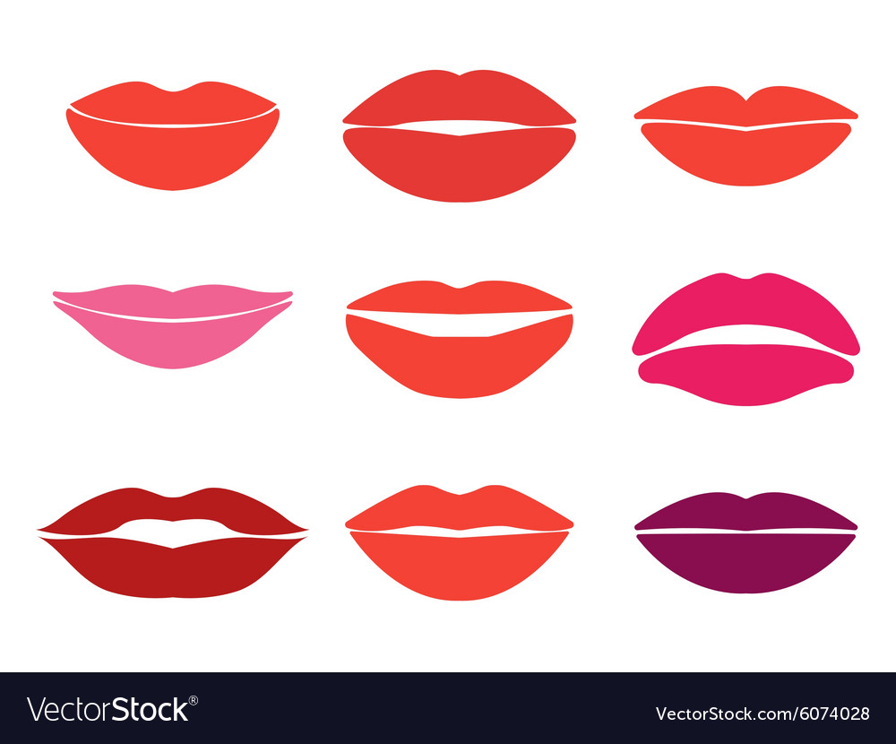 Woman lips set of lips silhouettes Custom