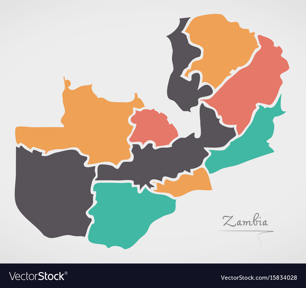 Zambian Map Vector.Zambia Map With States And Modern Round Shapes