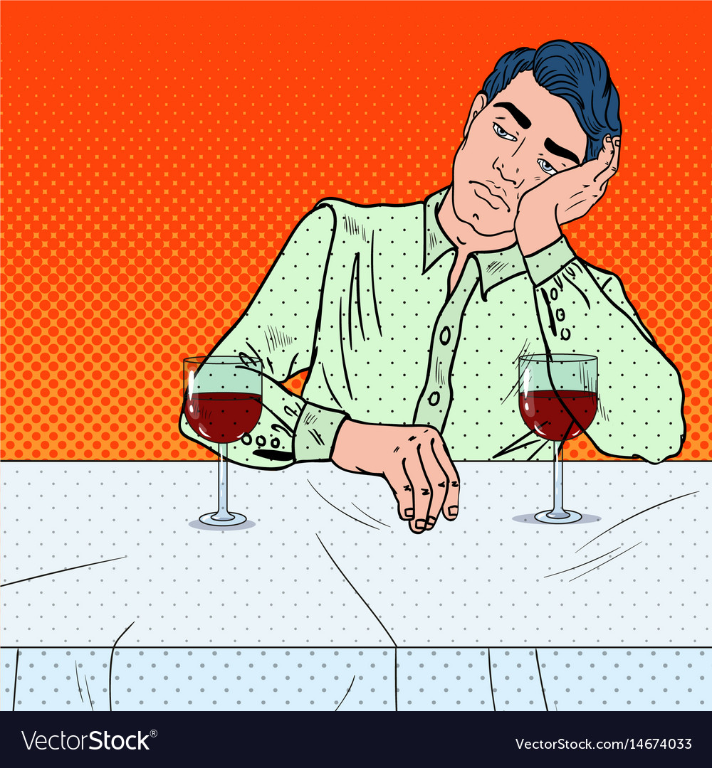 Alone sad man drinking wine in restaurant pop art