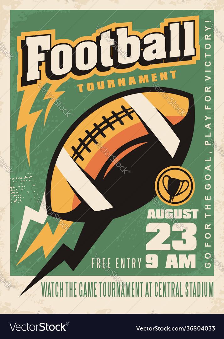American football retro poster template