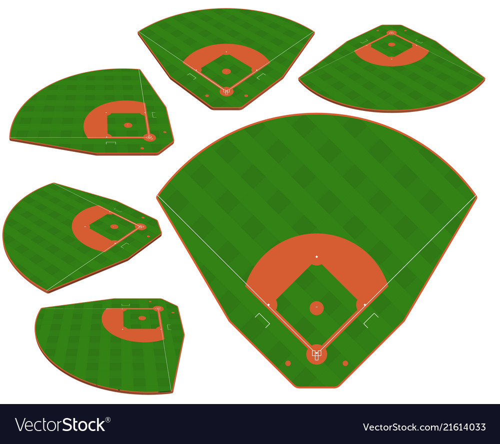 Baseball green field with white line markup
