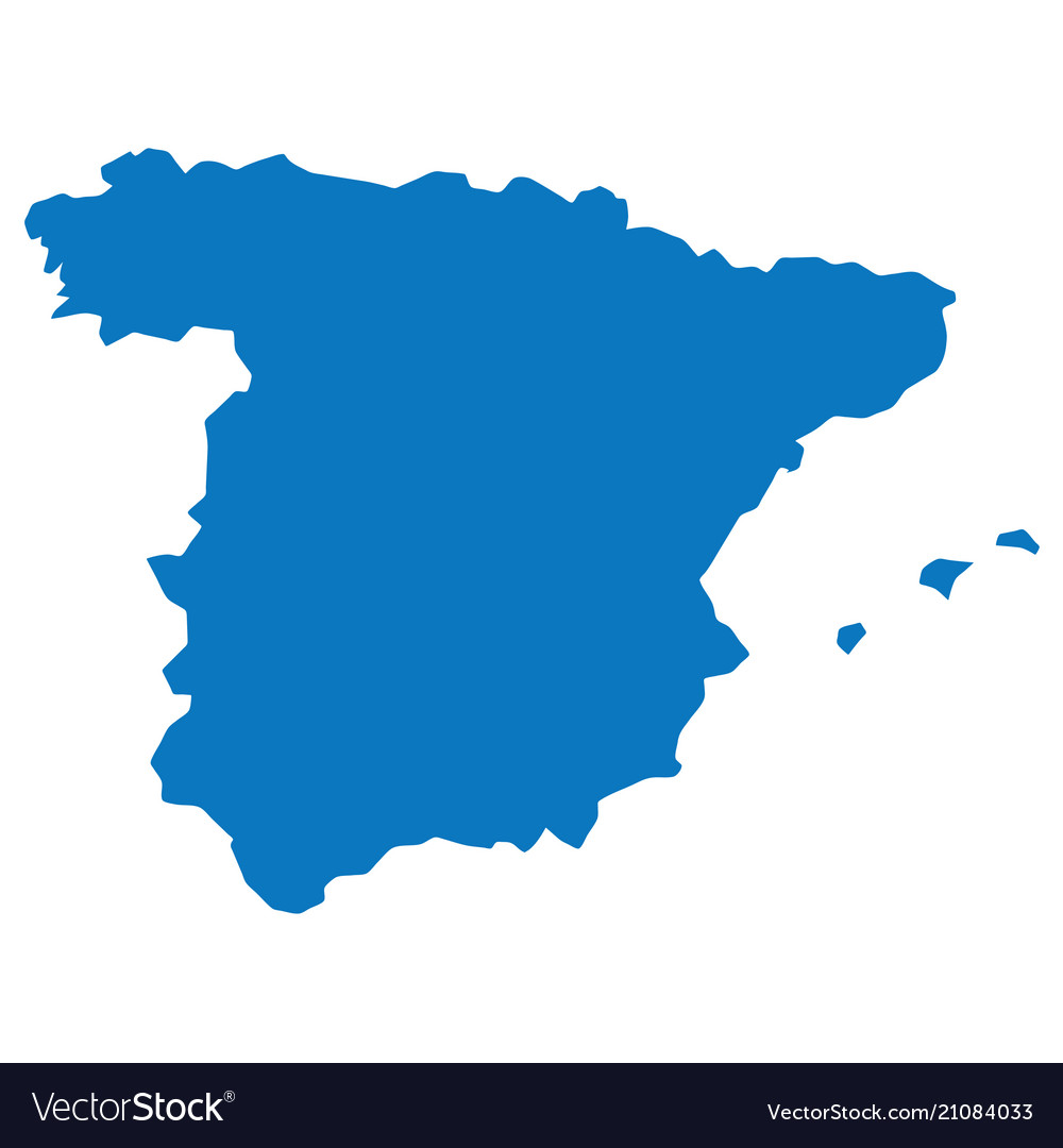 Map Of Spain Blank.Blank Blue Similar Spain Map Isolated On White Bac