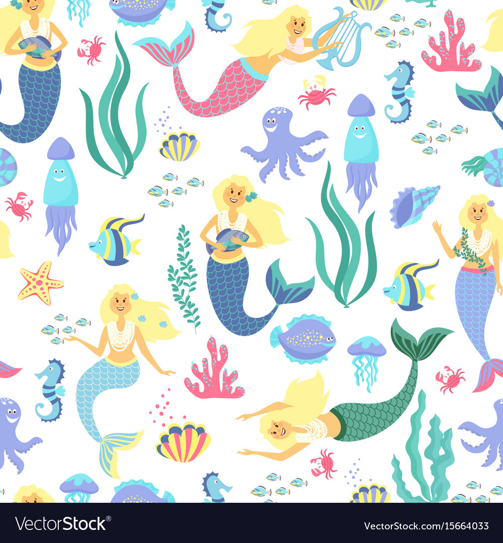 Cartoon mermaid seamless pattern on transparent