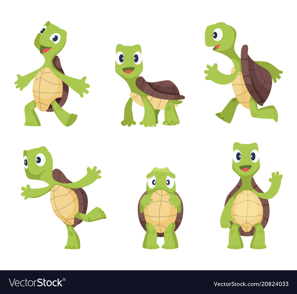 Cartoon turtle in various action poses