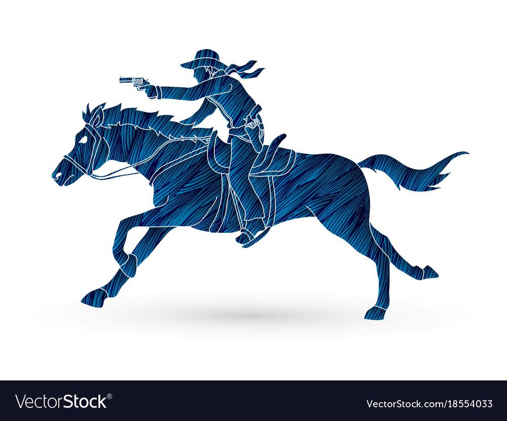 Cowboy riding horseaiming gun