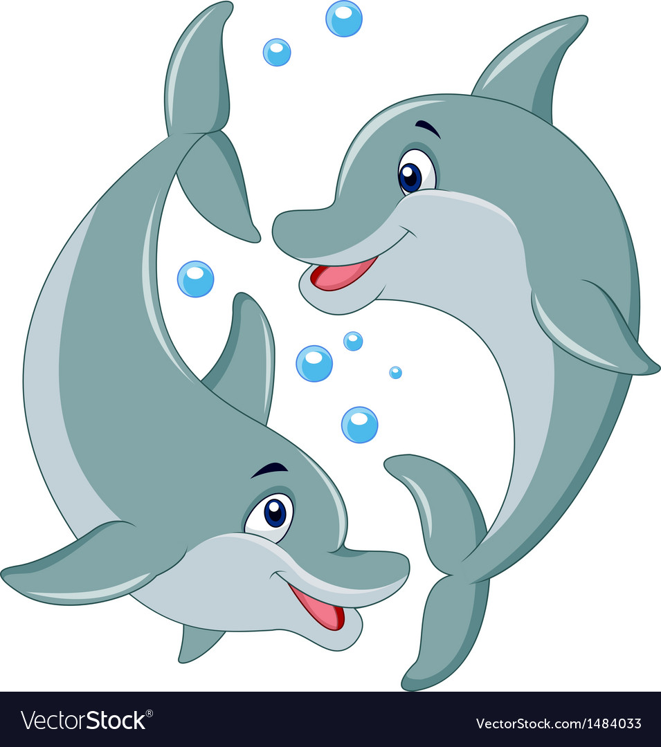 cute dolphin couple cartoon royalty free vector image rh vectorstock com dolphin cartoon pic dolphin fish cartoon images