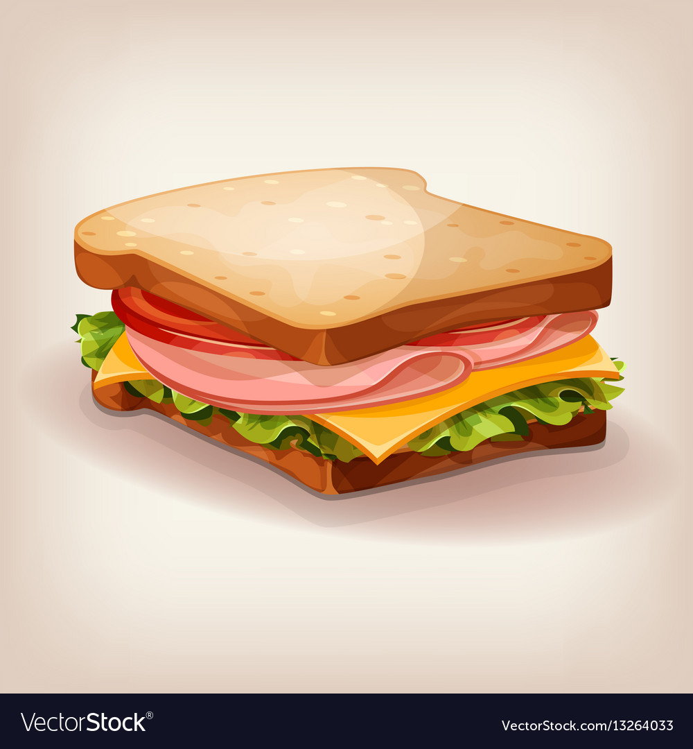 Delicious ham and vegetable sandwich