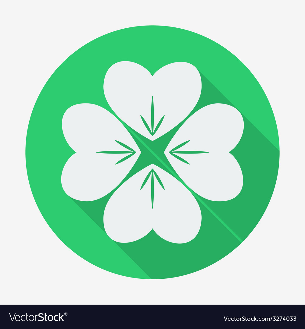 flat style icon with long shadow four leaf clover vector image rh vectorstock com four leaf clover vector art four leaf clover vector image