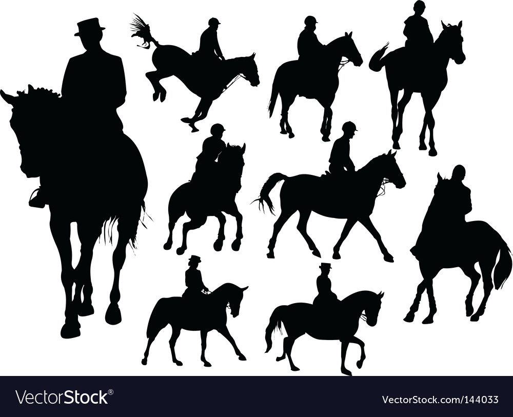 Horse rider silhouettes vector image