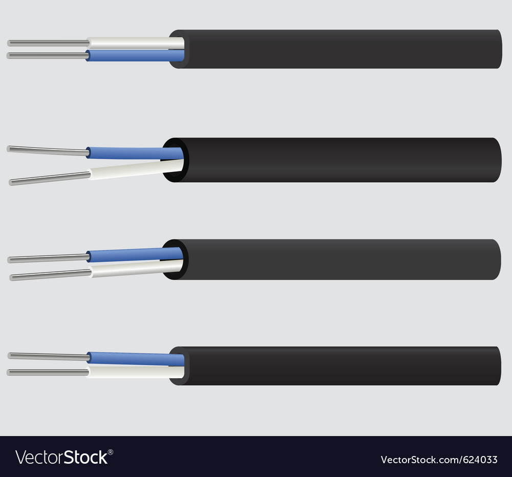 Image of a 2-wire electric aluminium cable vector image