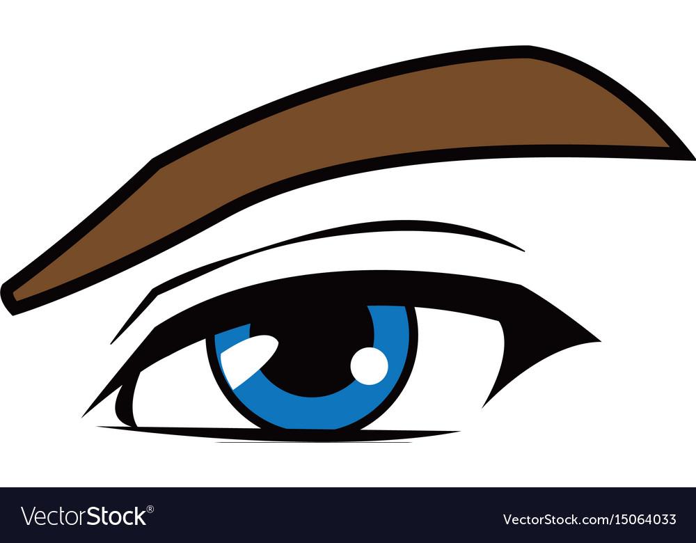 Manga Anime Cartoon Eyes With Eyebrows Royalty Free Vector