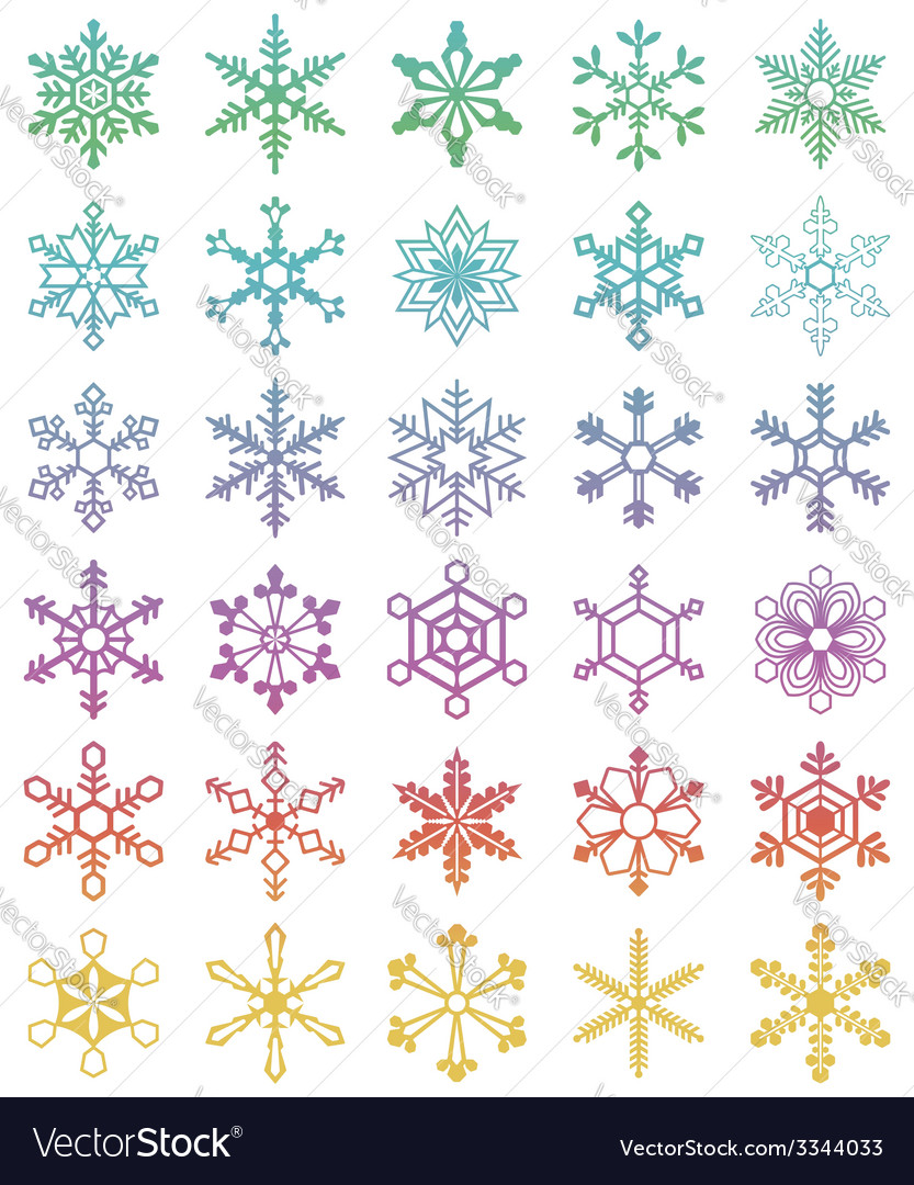 Set of 30 different snowflakes