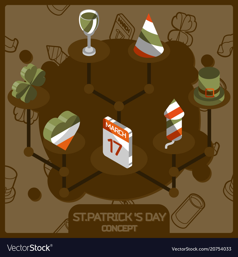 Stpatricks day color concept isometric icons