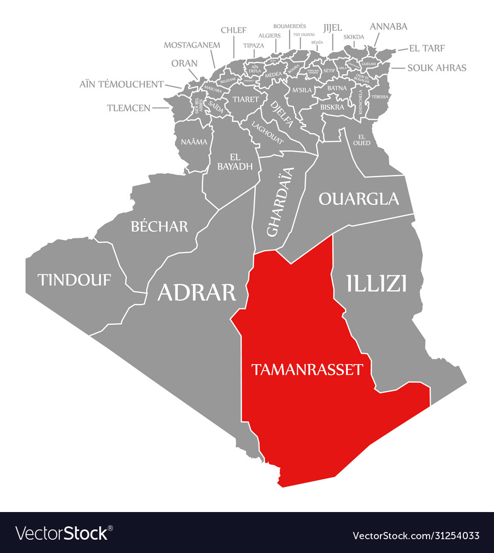 Image of: Tamanrasset Red Highlighted In Map Algeria Vector Image