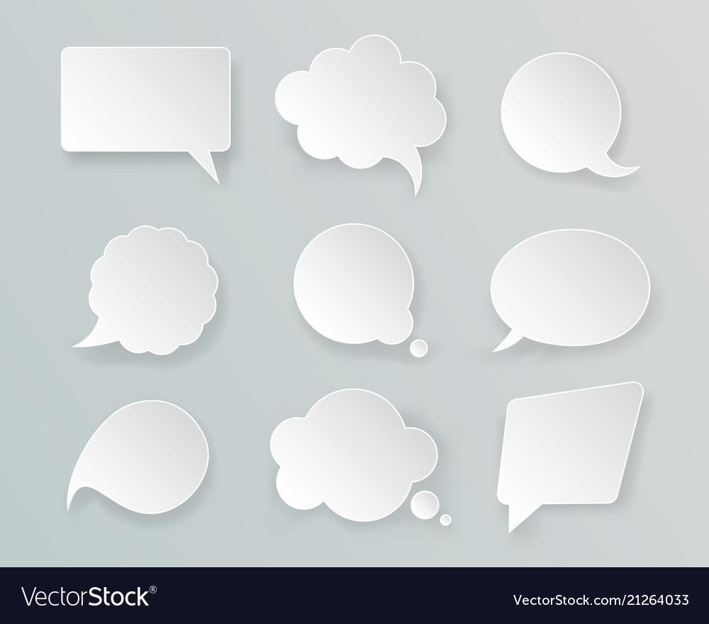 White mockup retro speech bubbles set