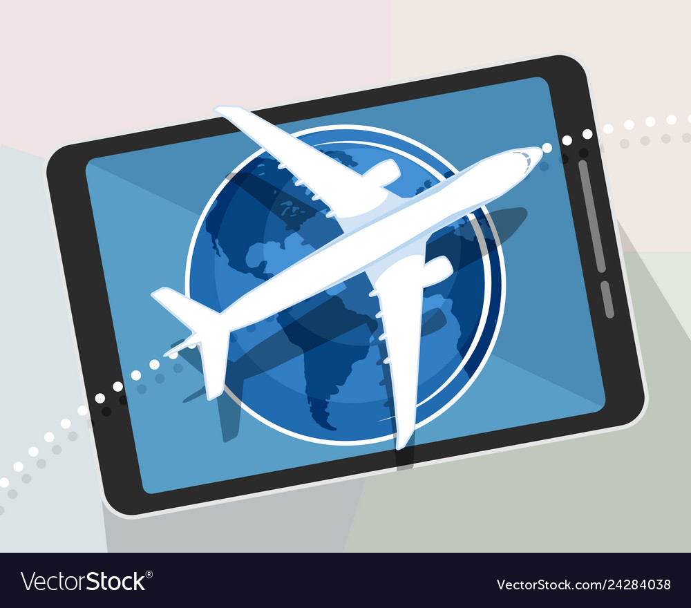 Airplane on a tablet