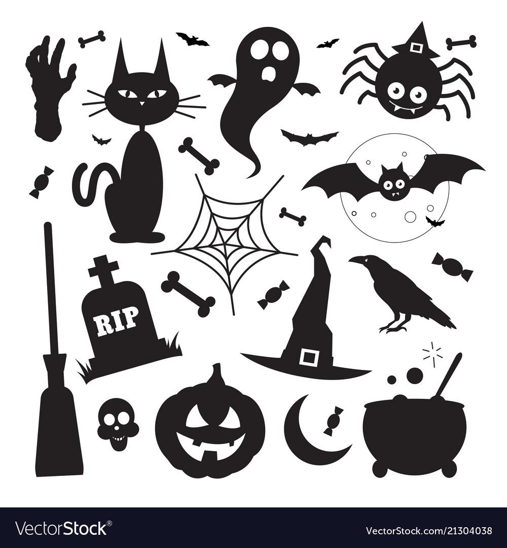 Black silhouette halloween elements icons